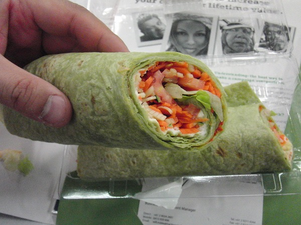 spinach tortilla wrap with vegetables & ricotta